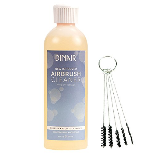 Dinair Airbrush 8oz Cleaner Clog Remover & 5pc Brush Set