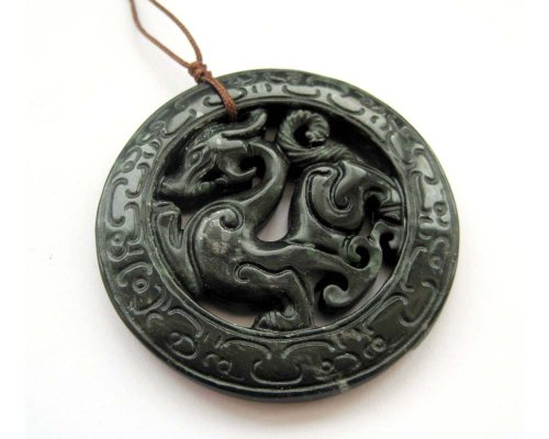 - OVALBUY Dark Color Stone Carved Dragon Amulet Pendant