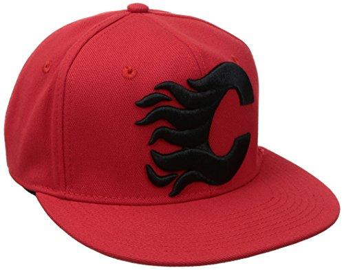 NHL Calgary Flames Men's SP17 Oversized Logo Flat Visor Flex Cap, Red, Small/Medium