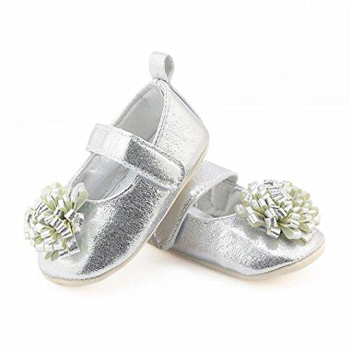 Lauflernschuhe,Chshe Das Neugeborene Mädchen Blume Krippe Schuhe Weichen Sohle Rutschfeste Schuhe Silber