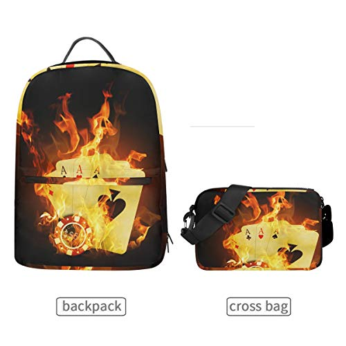 (DEZIRO Casino Poker Yellow Fire Bookbag with Cross Bag Set Backpacks)