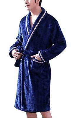 Seaoeey Autumn and Winter Pajamas Flannel Bathrobes Men's Hotel Bathrobe Night Gown