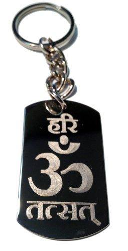 Hindu Lord Saying Hari Om TAT SAT Mantra Meditation AUM Meditate Religion Religious Logo Symbols - Metal Ring Key - Rings Of Key Lord Cd The