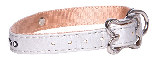 Designer Faux Leather Pin Buckle Dog Collar for Small Dogs, 3/8 Wide, Adjustable, Glamor Ivory and Bling Design ()