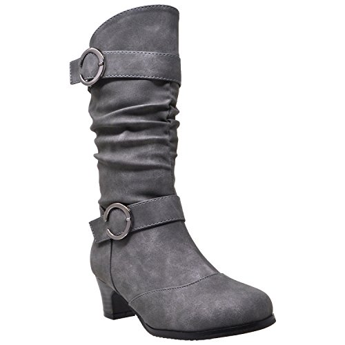 Heel Boots Girls' Slouchy Gray High Knee Low Kids Youth Zq6ZO