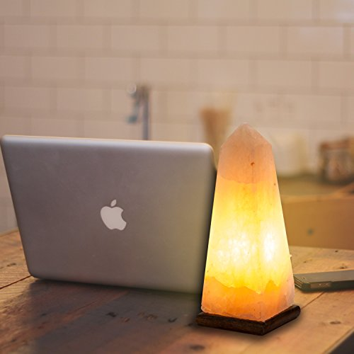 [Hand Crafted] HemingWeigh Natural Air Purifying Himalayan Rock Salt Obelisk Lamp with Wood Base