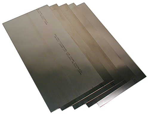 Precision Brand 22999 Assorted 8 Piece Metric Steel Shim Stock, Sheets, Full Hard, Cold Rolled, 302 Stainless Steel, 150 mm x 300 mm