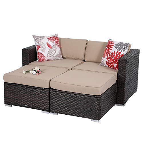 PHI VILLA 4-Piece Patio Furniture Daybed Set Rattan with Seat Cushions (Beige) (Furniture Outdoor Daybeds)
