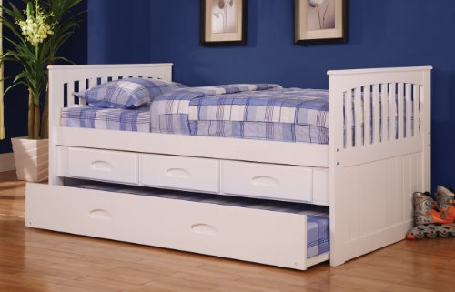Discovery World Furniture Twin Rake Bed with 3 Drawers and T