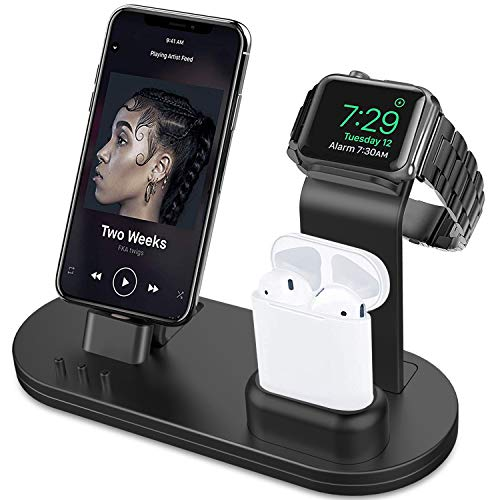 (OLEBR 3 in 1 Charging Stand Compatible with iWatch Series 4/3/2/1, AirPods and iPhone Xs/X Max/XR/X/8/8Plus/7/7 Plus /6S /6S Plus/9.7 inches iPad (Original Charger & Cables Required) -Black)