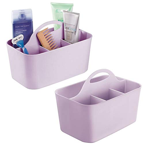 Style Station - mDesign Plastic Portable Storage Organizer Caddy Tote - Divided Basket Bin with Handle for Bathroom, Dorm Room - Holds Hand Soap, Body Wash, Shampoo, Conditioner, Lotion - Small, 2 Pack - Purple
