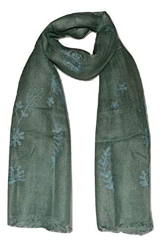 100% Pure Flax Linen, Kantha Hand Embroidered Gauze Scarf. (Aqua)