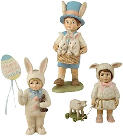 Bethany Lowe Hand Painted Easter Kids Parade 4 -5.5 Tall Figures – Set of 3