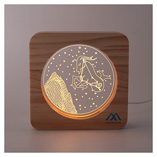 Capricorn USB Night Light Low Wattage Smooth Wooden Frame Long Lasting Modern Style Perfect Gifts to Friends Living Room Decoration