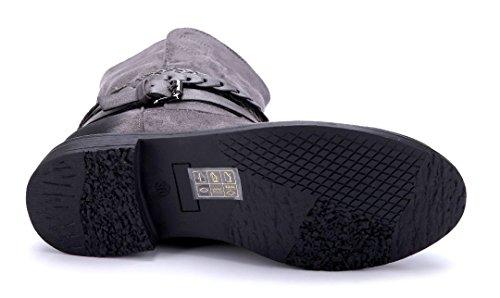Schuhtempel24 Damen Schuhe Klassische Stiefeletten Stiefel Boots Blockabsatz Schnalle 3 cm Grau