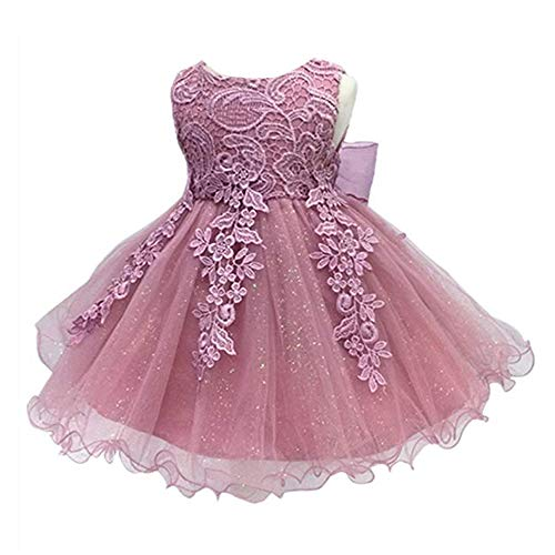 LZH Baby Girls Birthday Christening Dress Baptism Wedding Party Flower Dress for Newborn(5801-Dark Pink,24M