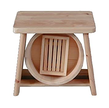 Amazon.com: Hinoki Wood Isu Bath Stool Chair OKE Set Onsen From ...