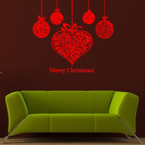Wall Decal Sticker Vinyl Merry Christmas Garland Ball Holiday Inscription M667