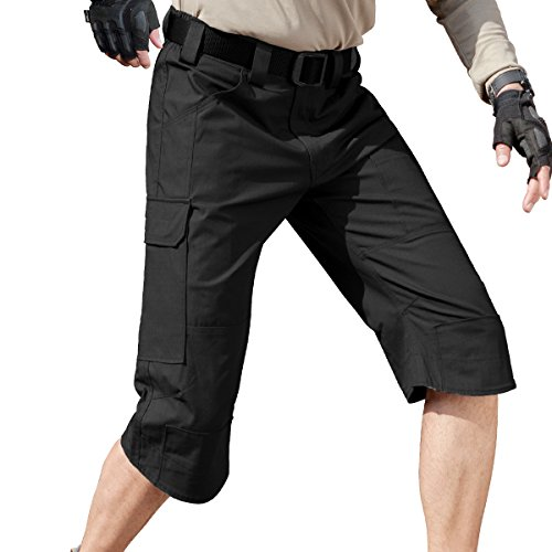 FREE SOLDIER Men's Capri Shorts Pants Casual 3/4 Water Resistant Multi Pockets Tactical Cargo Short (Black, W30)