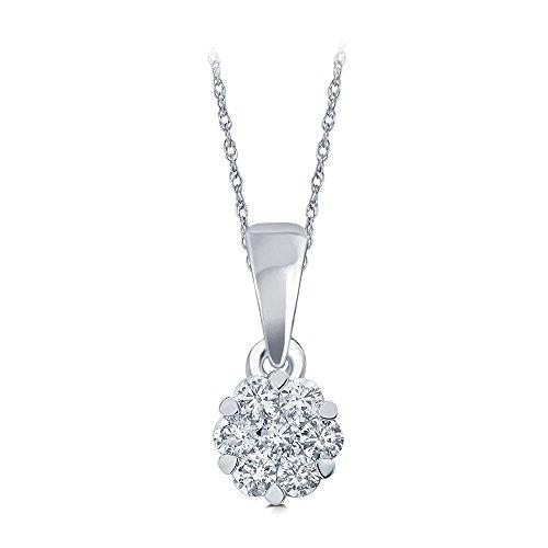 1/10 CT TW 10K White Gold 7stone Diamond Flower Pendant