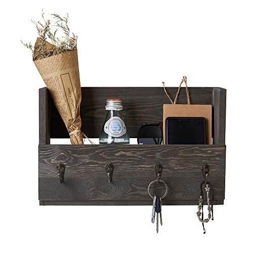 - Distressed Rustic Gray Pine Wood Wall Mounted Mail Holder Organizer with 4 Key Hooks Rack Hanger, Letter and Key Holder Organizer for Entryway, Kitchen, Hallway, Foyer-Wall Mount