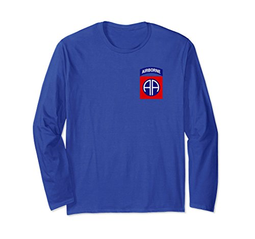 Airborne Long Sleeve T-shirt (Unisex 82nd Airborne Military Paratrooper Vintage Style T Shirt 2XL Royal Blue)