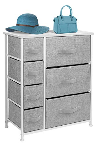 Sorbus Dresser with 7 Drawers - Furniture Storage Tower Unit for Bedroom, Hallway, Closet, Office Organization - Steel Frame, Wood Top, Easy Pull Fabric Bins (White/Gray) ()