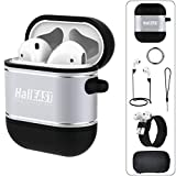 5 in 1 Airpods Accessories Kits Full Protection Hard Cover for Apple AirPods 2 /& 1 IDweel 2019 Newest AirPods Case with Soft Silicone Inside Skin Metal AirPods Case Black
