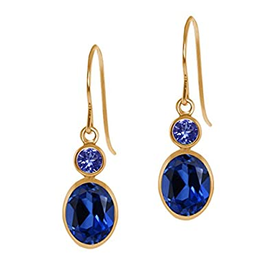 2.24 Ct Oval Blue Simulated Sapphire Blue Tanzanite 14K Yellow Gold Earrings