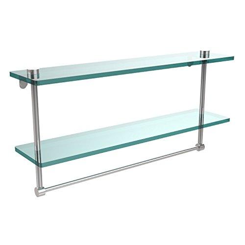 Allied Brass NS-2/22TB-PC 22-Inch Double Glass Shelf with Towel Bar