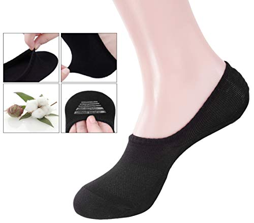 Line Women (No Show Socks for Women, Cotton Invisibale Socks, Non Slip Flat Boat Line Socks 4 Packs)