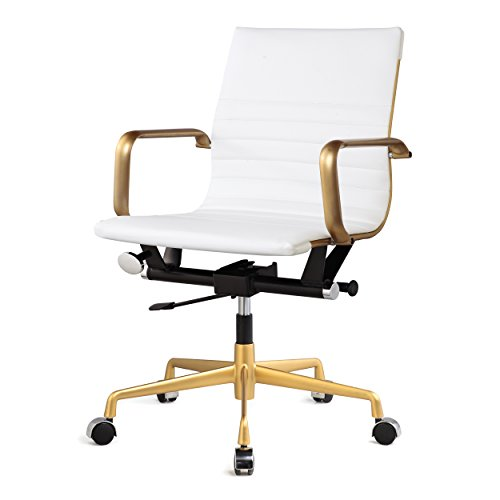 Meelano M348 Ergonomic & Stylish Executive Office Chair,Vegan Leather Desk Chair, Modern Design, Adjustable Height, Reclining Office Seat For Extra Comfort & Style –10 Colors (Gold And White)