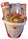 Ultimate Santa Claus Christmas Gift Basket - Featuring Rudolph & Many Fun Christmas themed items!