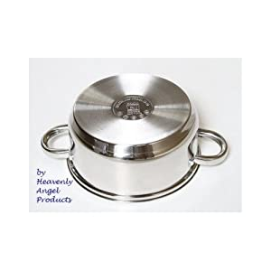 Best Stainless Steel Cookware Set Silver 12 Piece with Glass Lids Has a Capsuled Base and It's a Lifetime Durable Stove Saucepans Have a Mirror Shine By Heavenly Angels Products