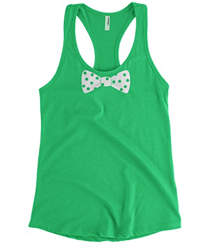 Cybertela Women's White Polka Dot Bow Tie Racerback Tank Top (Kelly Green, Small) (Green And White Polka Dot Bow Tie)