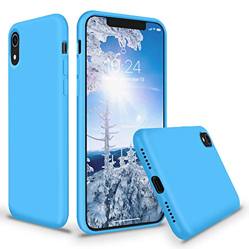 - SURPHY iPhone XR Silicone Case, Slim Liquid Silicone Protective Phone Case Cover (Full Body Thin Case with Microfiber Lining) Compatible with Apple iPhone XR 6.1 (Blue)