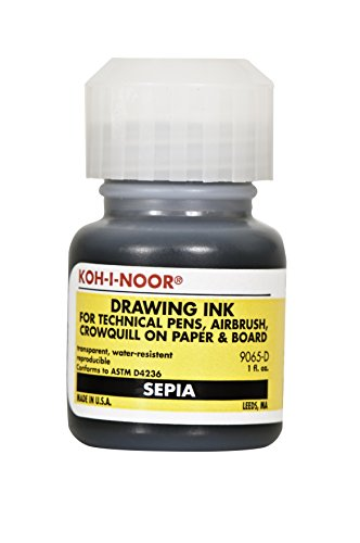 Koh-I-Noor Dye-Based Drawing Ink, 1 Ounce Bottle, Sepia (9065D.SEP)