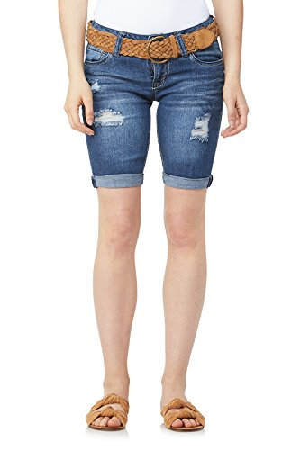 WallFlower Juniors Belted Luscious Curvy Bermuda Denim Shorts in Mari Size: ()