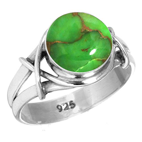 Jeweloporium 925 Sterling Silver Copper Green Turquoise Handmade Ring Size 9.5