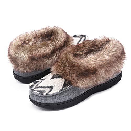 Booties Faux Fur - Zigzagger Womens Chevron Print Slipper Bootie with Faux Rabbit Fur Collar, Grey, 9 M US