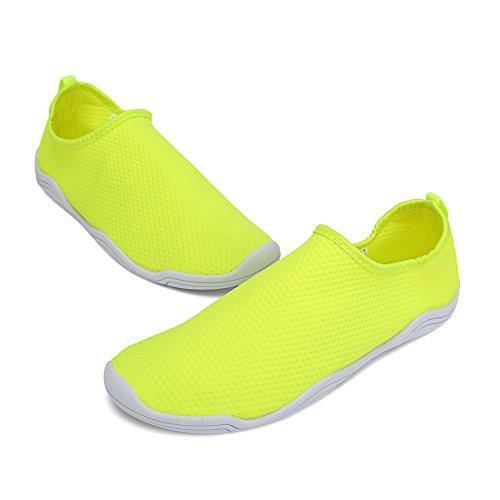 FCKEE Water Shoes Aqua Schuhe Slip-On Barfuß Leicht Leicht Quick-Dry Drainage Haltbare Sohle Mutifunktional für Beach Pool Surfen Frauen Männer D-gelb