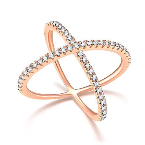 SOMEN TUNGSTEN 925 Sterling Silver Rose Gold Criss Cross Ring Engagement Wedding Band (Cross Cross Gold Ring)