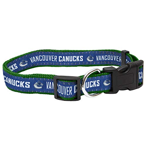 Pets First NHL Vancouver Canucks Collar for Dogs & Cats, Small. - Adjustable, Cute & Stylish! The Ultimate Hockey Fan Collar!