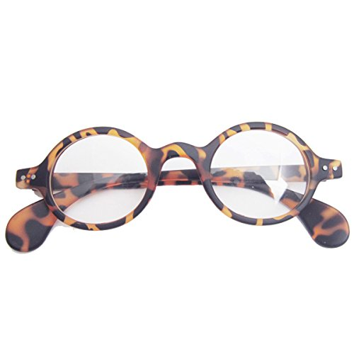 - Retro Prescription Eyewear Glasses Small Round Optical Eyeglass Frame (Leopard)
