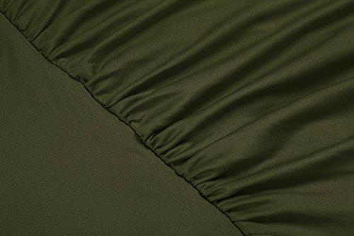 cooshional Vestido asimétrico de correa vestido de fruncido moderno atractivo de las mujeres Verde