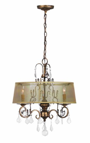 (World Imports 1943-90 Belle Marie Collection 3-Light Hanging Chandelier, Antique Gold)