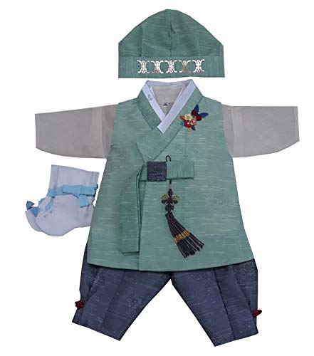 100 Day Birth Korea Baby Boy Hanbok Traditional Dress Outfits Celebration Party Green Set -