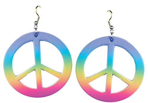 [Forum Novelties - Womens Hippie Peace Sign Rainbow Tie Dye Earrings Costume] (Tie Dye Dress Costume)