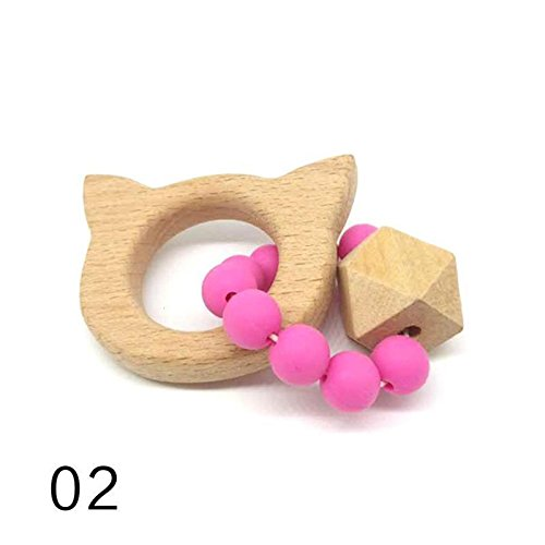 Zyalex - Perles De Bois De Silicone Hêtre Bébé Anneau De Dentition Chew Perles Hêtre Bébé Jouets De Dentition Lit Cadeau Enfant Hochets Bracelets Montessori Xv3 [2] 2
