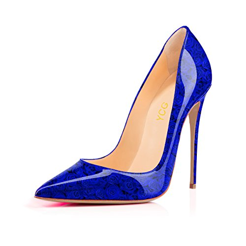 YCG Women's High Heels Pumps Red Blood Printing Slip on Shoes Blue Rose 3 cheap 2015 new sale low cost 9tceG0YJX